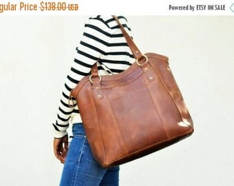 SUMMER SALE NEIRA - Large leather tote bag, brown leather tote bag, leather shopper bag, laptop bag, genuine leather bag, leather tote women
