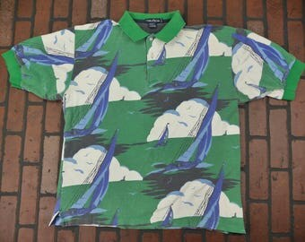 Nautica Large All Over Print Sailing Polo Shirt Vintage 90s FREE Shipping