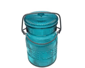 Vintage Teal Blue AVON Apothecary Jar with Bail Closure