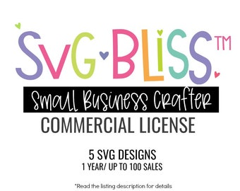 SVG Commercial Use License | 5 Designs | 100 Uses per Design