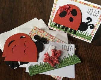 DIY Card Kit, Ladybug, Hello, 4Pk, Blank Inside, Card Making, Kids Craft, Greeting Card Kit, Premade Card