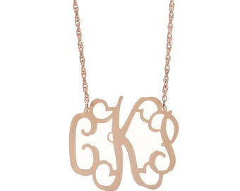 Medium Rose Gold  Monogram Filigree Necklace - Interlocking Collection