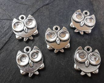 Set of 5 charms OWL charms birds in silver, 17 x 15 mm
