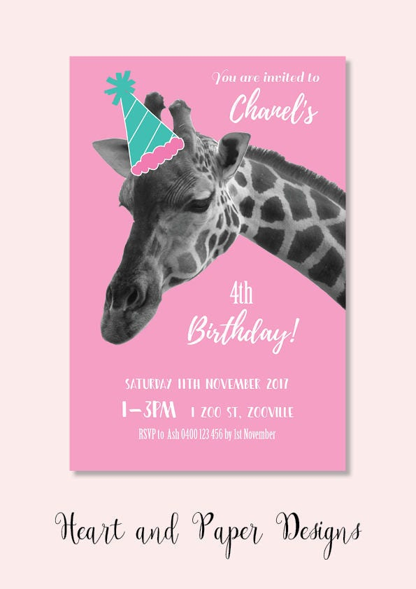 4x6 giraffe zoo girl or boy options party birthday invitation jpeg ...