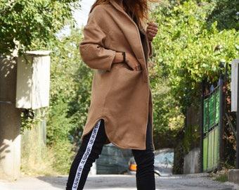 Beige Cashmere Coat, Woman's Coat, Elegant Casual Coat, Extravagant Wool Coat, Winter Warm Coat by SSDfashion