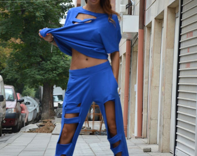 Sexy Blue Loose Fit Pants, Extravagant Design Sport Pants, Oversize Wadding Pants by SSDfashion