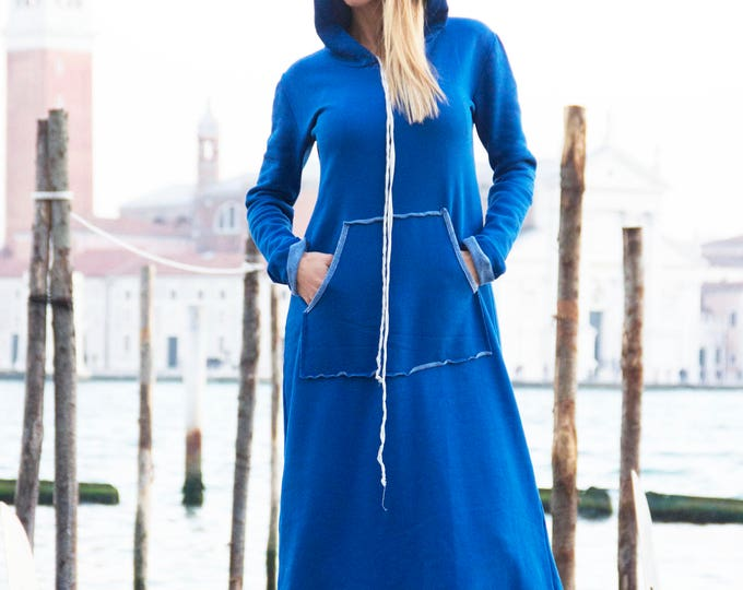 Plus Size Hooded Dress, Extravagant Cotton Long Dress, Front Pocket Maxi Kaftan, Oversize Dress by SSDfashion