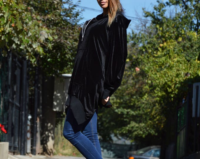 New Extravagant Maxi Hooded Jacket, Zip Casual Velvet Sweatshirt, Asymmetric Black Jacket by SSDfashion