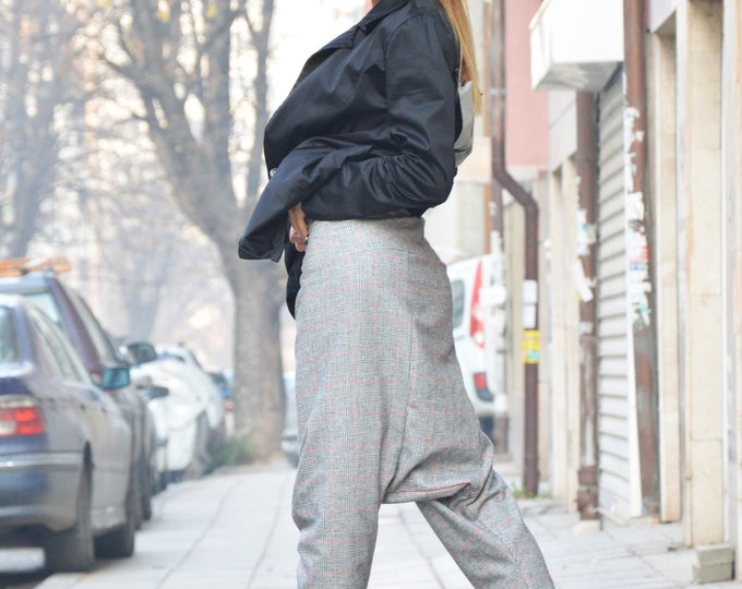 Loose Casual Drop Crotch High Waist Pants, Harem Sexy Pants, Extravagant Maxi High Waist Trousers by SSDfashion