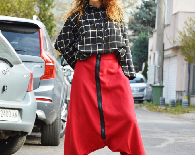 Low Bottom Wool Red Low Crotch Pants, Extravagant Loose Harem Trousers, Extra Long Zipper Pants by SSDfashion