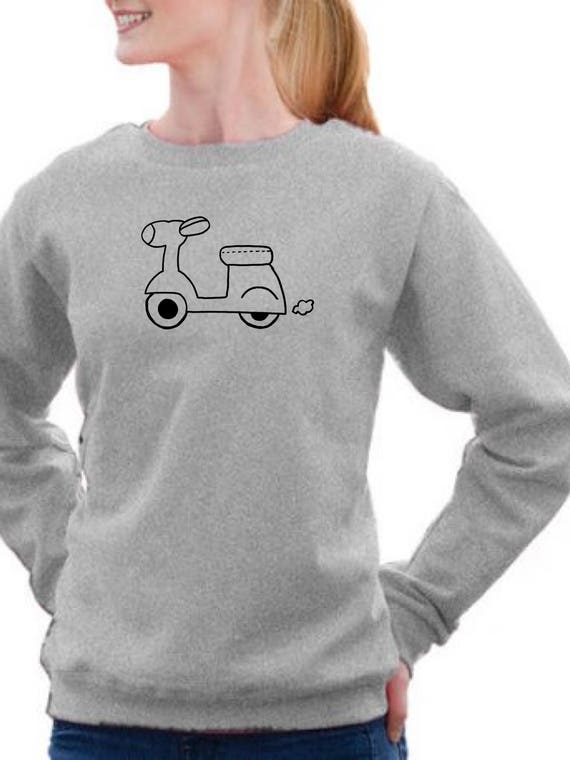 Round neck women sweater MOTORBIKE