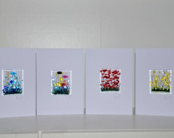 Handmade Fused Glass Art - Cards - Poppy, Daisy, Wild Flowers, Cornflowers