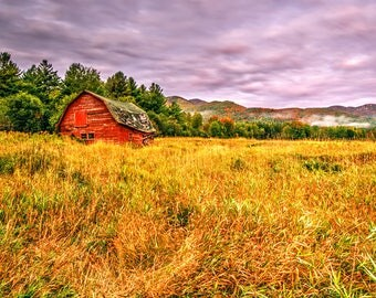 Red Barn, Keene Valley, Lake Placid, Fine Art Photography, Adirondack Decor, Home Decor, Adirondack Landscape Photograph, High Peaks, Autumn