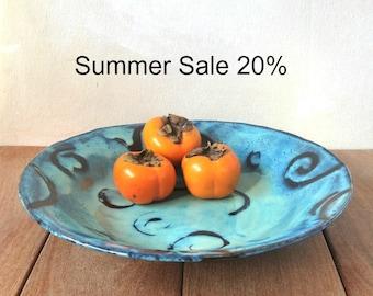 Large Ceramic Bowl, Ceramic Serving Bowl, Fruit Bowl, Turquoise Serving Bowl, Raised Pattern Design, Decorative Bowl, Housewarming Gift