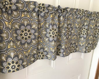 Gray with yellow and white large flowers  curtain valance