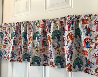 Marvel Hulk Advengers Boys Room Gray Character Curtain Valance