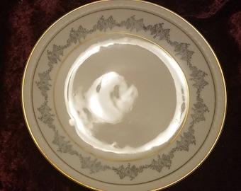 Vintage Upsala Ekeby Karlskrona KP Sweden Accent Salad Dessert Plate White Gray Floral Gold Trim Swedish Modern