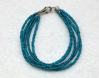Azure bracelet Beaded bracelet Bead bracelet Delicate bracelet Tiny bracelet Everyday jewelry Beaded jewelry Girlfriend gift Womens gift