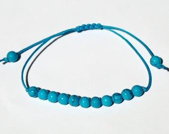 Turquoise bracelet Gemstone bracelet Wax Cord Bracelet gemstone bead bracelet Thread Bracelet Minimal bracelet String Bracelet friend gifts
