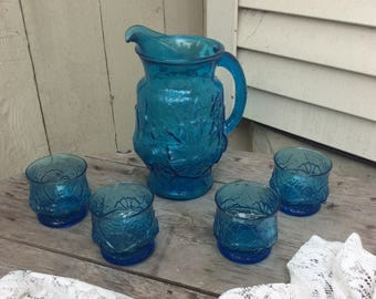 Vintage Anchor Hocking Blue Rainflower Pitcher and Four Juice/Highball Glasses