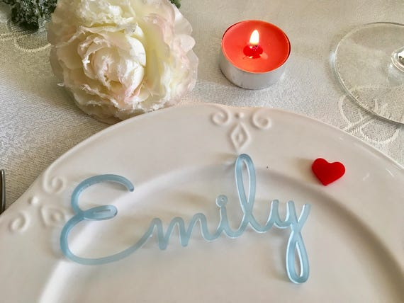 Frosted Blue Acrylic Place Cards Laser cut names for wedding place cards Place settings Customised Wedding table sign Blue tag Place seating