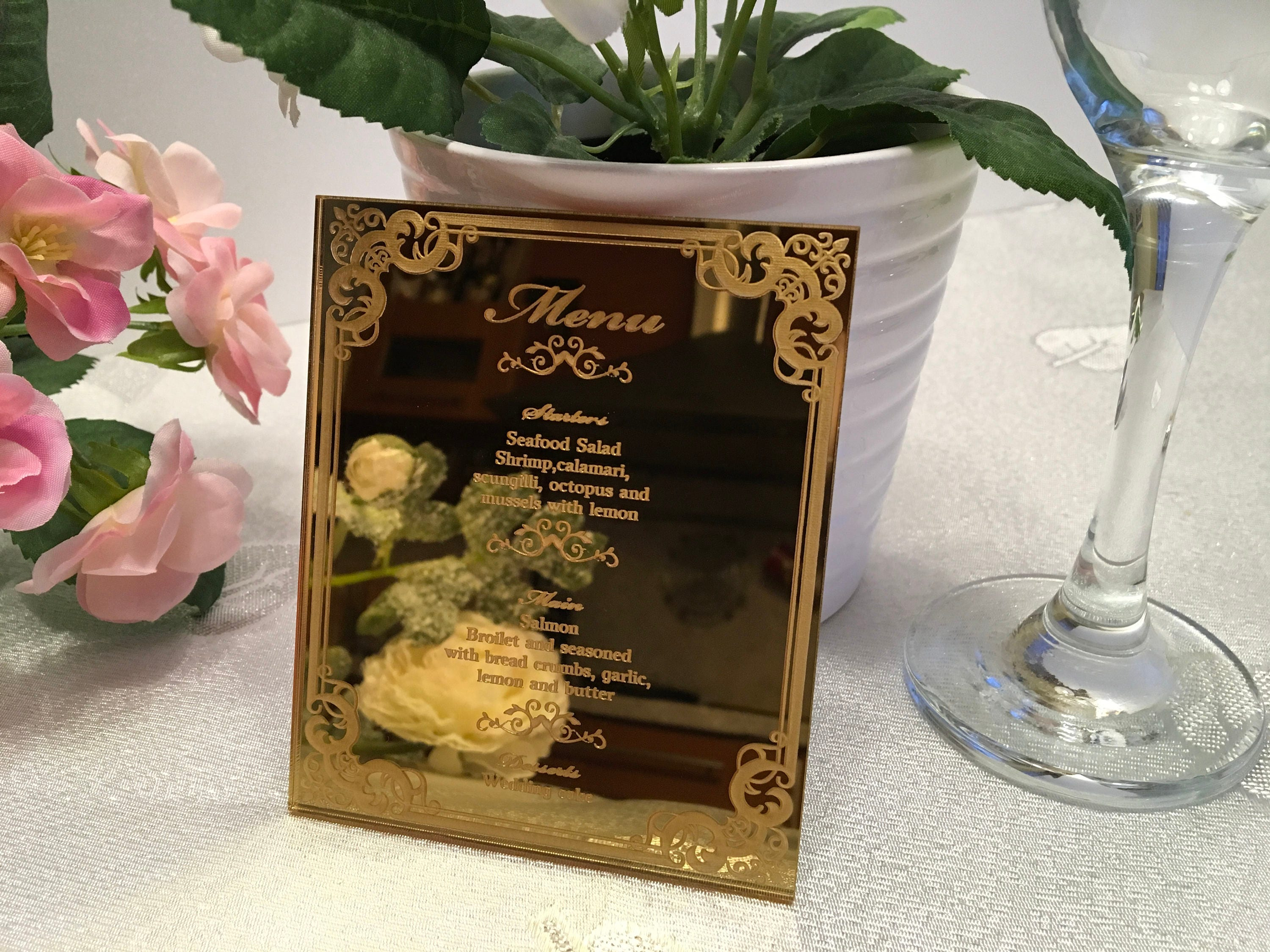 Wedding Menu Gold Mirror Acrylic Food Laser Engraved Reception Personalized Invitation Etched Signs