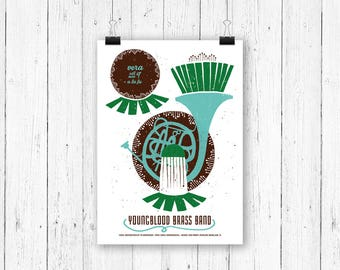 Screen print poster music - Youngblood Brass Band at Vera Groningen - gig poster 70 x 50 cm
