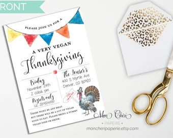 Vegan Thanksgiving Printable Invitation, Thanksgiving Dinner  Invitations, Eat drink and be thankful, Fall invitation, Friendsgiving dinner