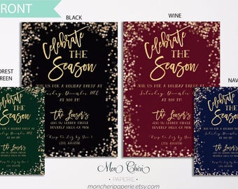 Celebrate the Season Holiday Invitaton | Holiday Invitation | Sparkle Holiday Invitation | Celebrations | Christmas Party