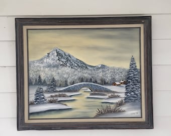 Vintage Winter Landscape Oil Painting of a Mountain Scene in Wooden Frame Signed by Gray