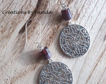 Earrings with round Celtic print and purple cylinder bead