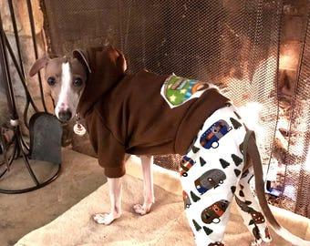 Italian Greyhound Camper Hoodie and Igzy. 2 piece Italian Greyhound Clothing. Iggy Wear