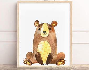 Bear Print, Bear Wall Art, Bear Printable, Nursery Bear Print, Woodland Animal, Woodland Nursery, Woodland Decor, Watercolor Print, W01