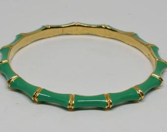 Gold tone and Green enamel Bangle Bracelet