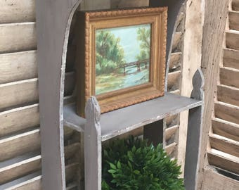 Antique Vintage Hand Painted Wall Hanging Shelf