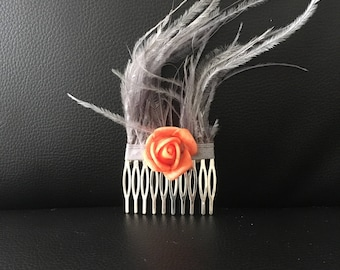 Comb, Festival hair accesory, with grey feathers and salmon flower!