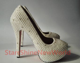 Customize Bling Crystal Shoes White Pearls Women Wedding Custom Heel Sexy Bridesmaid Pumps