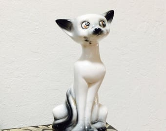 Ceramic Cat Figurine Japan Porcelain Kitten Figure, 1950s Cat Vintage