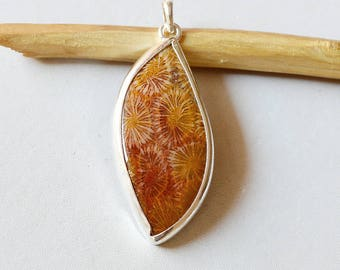 """Fossil Coral Pendant 14.1 Gm Natural Gemstone Silver Pendant Fossil Coral 925 Solid Silver Pendant Leaf Shape  2.4""""x0.9"""" Inch RJ132"""