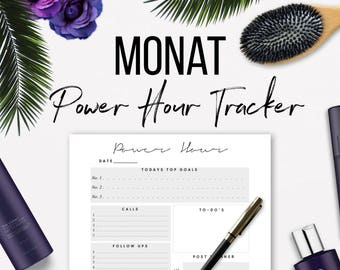 Monat Power Hour Tracker Us Letter, A4 or A5 Paper Size