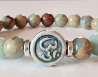 Yoga Bracelet, Om Bracelet, Aqua Terra Jasper Bracelet, Mala Bracelet, Beaded Bracelet, Meditation Bracelet, Crystal Healing, Ohm Bracelet