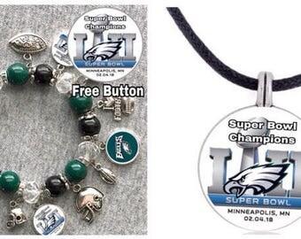 Philadelphia Eagles Super Bowl Champions Necklace and Bracelet set