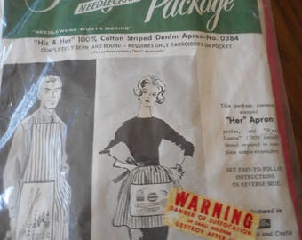 Vintage Lady's BBQ Apron - stamped for Embroidery