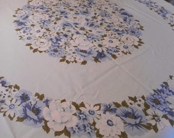 Vintage Blue Floral Tablecloth with fringe.  Perfect