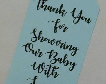 Thank You Tags Baby Shower, Baby Boy Shower Favor, Baby Shower Tags, Favor Tags for Baby Shower, Kraft Tags,  Blue Favor Tags, Kraft Tags