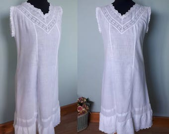 Edwardian princess line chemise slip fine white cotton with cutwork lace in good antique condition petite to small vintage nightwear shift