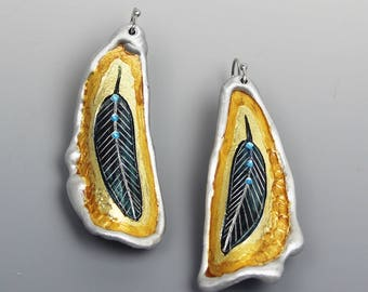 Raven Feather Earrings, Aluminum, Southwestern, Western, French Wire, Handmade by Arizona artist, Monte Voepel
