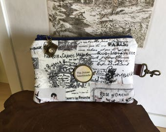 Paris style mini zippered case with camera charm
