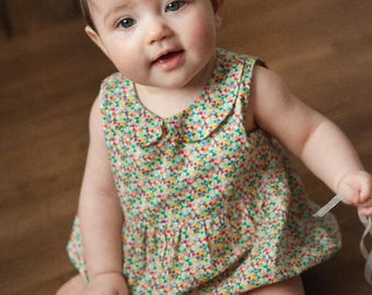 CHARLOTTE Handmade Liberty Print Sleeveless Playsuit with Peter Pan Collar Babies Toddlers