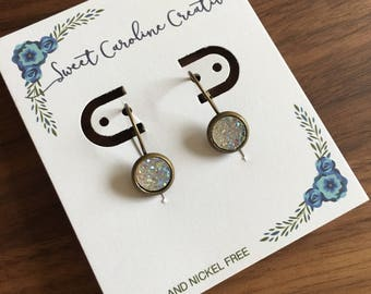 Tiny Dangle Earrings. Antique Bronze, 8mm round.